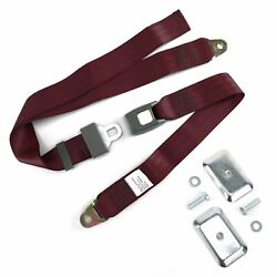 2pt Burgundy Standard Buckle Lap Seat Belt With Flat Plate Hardware Muscle Cars
