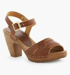 Lh La Halle Shoes Brown Leather Swedish Style Clog Heel Sandal 39 Italy