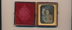 M.a.root 1840and039s Daguerreotype Of Beautiful Child Signature Case + M. Root Token