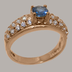 Solid 18k Rose Gold Natural Sapphire And Cz Womens Band Ring - Sizes J To Z