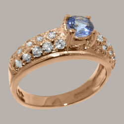 Solid 18k Rose Gold Natural Tanzanite And Cz Womens Band Ring - Sizes J To Z