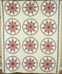 Museum Quality Vintage 30's 9-pointed Star Wheel Antique Quilt Sawtooth Borders