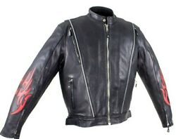 Mens Leather Motorcycle Racer Jacket W/flames Air Vents Reflective Piping