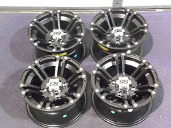 Yamaha Grizzly 660 12 Itp Ss212 Blk Aluminum Atv Wheels Complete Set 4 Irs1ca