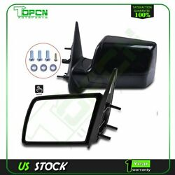 Manual Side Mirrors Pair Set Left Lh And Right Rh For 88-98 Gmc Chevy Pickup Truck
