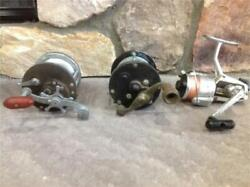 3 Vintage Antique Fishing Reels Penn Ryobi And 1 Unknown Name Nice Collectibles
