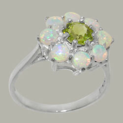 Solid 18k White Gold Natural Peridot And Opal Womens Cluster Ring - Sizes J To Z