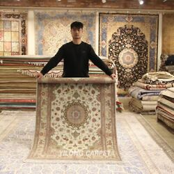 Clearance Yilong 4and039x6and039 Beige Handmade Wool Rug Top Blanket Woollen Carpets 2075