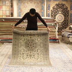 Clearance Yilong 4and039x6and039 Dining Room Handmade Wool Rug Beige Woollen Carpet 2080