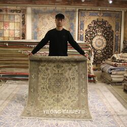 Clearance Yilong 4and039x6and039 Handmade Wool Rug Medallion Handwoven Thick Carpet 2074