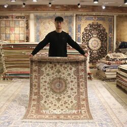 Clearance Yilong 4and039x6and039 Classic Handmade Wool Rug Beige Woolen Area Carpet 2063