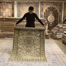 Clearance Yilong 4and039x6and039 Beige Handmade Wool Rug Living Room Woollen Carpet 2111