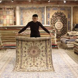 Clearance Yilong 4and039x6and039 Pictorial Hand Knotted Wool Silk Rug Woollen Carpet 2090