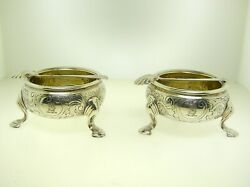 Pair Of Edward Wood 1742 Salts With Gilt Interior 3 1/2 Inches Diameter -b.offer