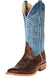 Anderson Bean S1116 Menand039s Square Toe Mike Tyson Bison Blue Lava Boots