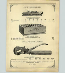 1890 Paper Ad 16 Pg Gun Rifle Loading Tools Sandw Re-cappers Implement Sets