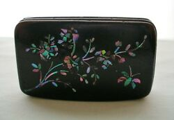 Small Intricate Iridescent Inlaid Mop Or Abalone Lacquer Box Insect 1800s Snuff