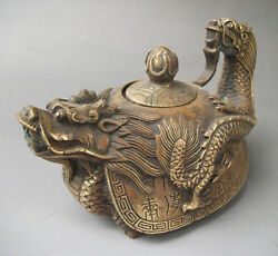 Wonderful Rare Oriental Bronze Signed Carved Dragon Teapot Statues