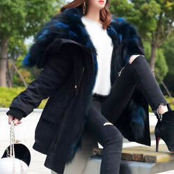 Women Oversized Hooded FoxRabbit Fur Parka Coat Lady Jacket Overcoats Outerwear