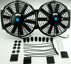 2x Radiator Cooling Fan 10 Inch Push/pull Universal Straight With Fittings