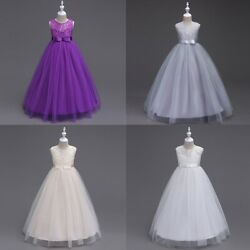 Lace Flower Girl Dress Maxi Long Formal Ball Gown For Teens Wedding Bridesmaid