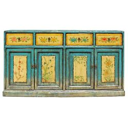 Distressed Rustic Light Blue Yellow Sideboard Console Table Cabinet cs5144