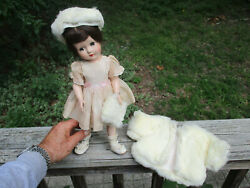 Vintage Effanbee Doll With Fur Jacket Hat And Muff 14 Girl With Closing Eyes