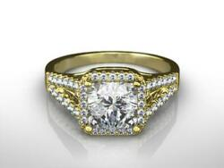 Special Occasion 2.50 Ct F Vs2 Cushion Shape Halo Split 14 K Yellow Gold Ring