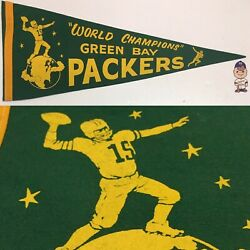 1960s Vintage Green Bay Packers Wisconsin Nfl Football Pennant 11.5x29 World Ch