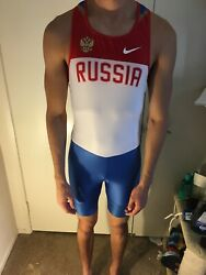 Nike Russia Russian Track And Field Suit Singlet Running Menandrsquos Male Size Large