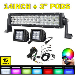 5d Lens Rgb 14 Inch Offroad Led Light Bar + 3 Pods And Harness Wireless Bluetooth