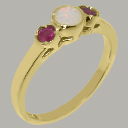 Solid 18k Yellow Gold Natural Opal And Ruby Womens Trilogy Ring - Sizes J To Z