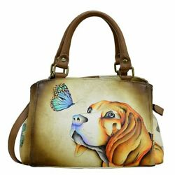 Anuschka Leather Multicompartment Satchel Handbag Anna Art Puppy Love $170.00