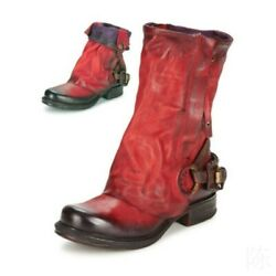 Women High Top 100 Leather Chunky Mid Heel Retro Cowboy Ankle Boots Size 34-42