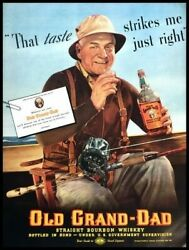 1937 Old Grand Dad Whisky Fishing Vintage Advertisement Print Art Ad Poster Lg90