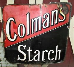 Antique Country Usa Colmans Starch Food Store Lg Advertising Porcelain Box Sign
