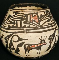 Historic Zuni Polychrome Heart-line Deer Pictorial Pottery Jarexceptional Paint