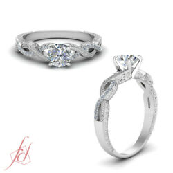 Round Cut Diamond Vintage Hand Engraved Infinity Shank Engagement Ring 0.65 Ctw