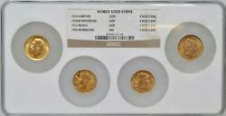 4 World Gold Coins Ch. Unc Ngc Holder And03914 Britain And03935 Swiss And03912 France And03926 Neth