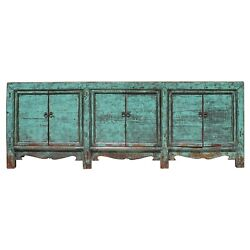 Chinese Distressed Aqua Green Finish High Credenza Console Buffet Table cs5183