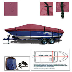 Deluxe Fishing Ski Bass Boat Cover Trailerable Storage Burgundyfits 17and039-18.6and039l