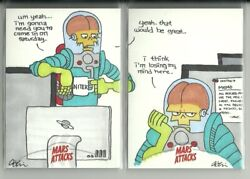 2013 Topps Mars Attacks Invasion 2 Card Puzzle Office Space Sketch - Adam Levine