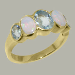 Solid 14k Yellow Gold Natural Aquamarine And Opal Womens Band Ring - Sizes J To Z