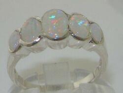 Solid 18k White Gold Natural Opal Womens Band Ring - Sizes J To Z