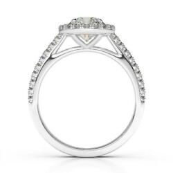 Outstanding Round Halo Diamond Ring 1.45 Ct Si1 G 14k White Gold Side Stones
