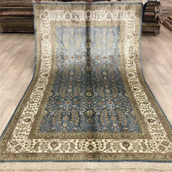 Yilong 5'x8' Blue Handmade Silk Area Rug All Over Hand Knotted Carpet Store 009B