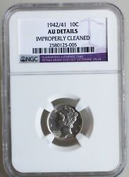 1942/41 Variety Silver Mercury Dime Au Almost Uncirculated 10c Us Type Coin Ngc