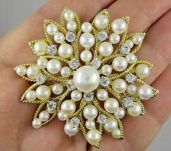 Signed Trio Vintage 14k Solid Yellow Gold Pearl Brooch Snow Flake