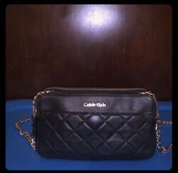 Calvin Klein Quilted Leather black Crossbody Bag $59.99