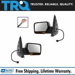 Mirror Power Folding Heated Memory Turn Signal Chrome Cap Pair Set for Ford NEW